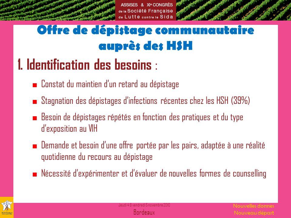 Jeudi 4 & vendredi 5 novembre 2010 Bordeaux Nouvelles donnes Nouveau départ Offre de dépistage communautaire auprès des HSH 1.