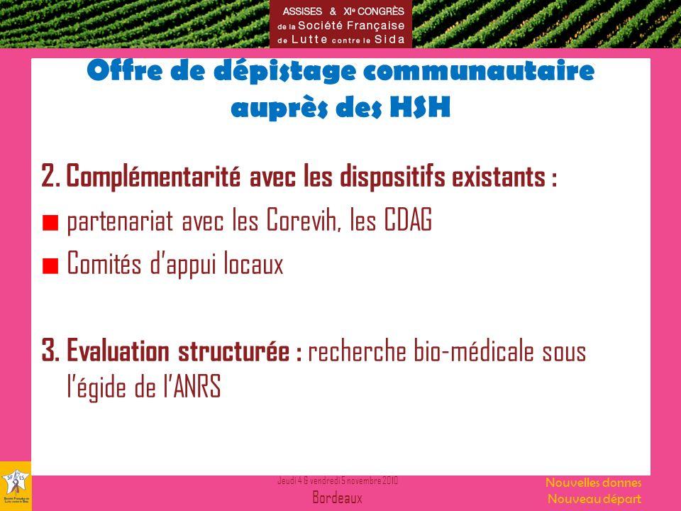Jeudi 4 & vendredi 5 novembre 2010 Bordeaux Nouvelles donnes Nouveau départ Offre de dépistage communautaire auprès des HSH 2.