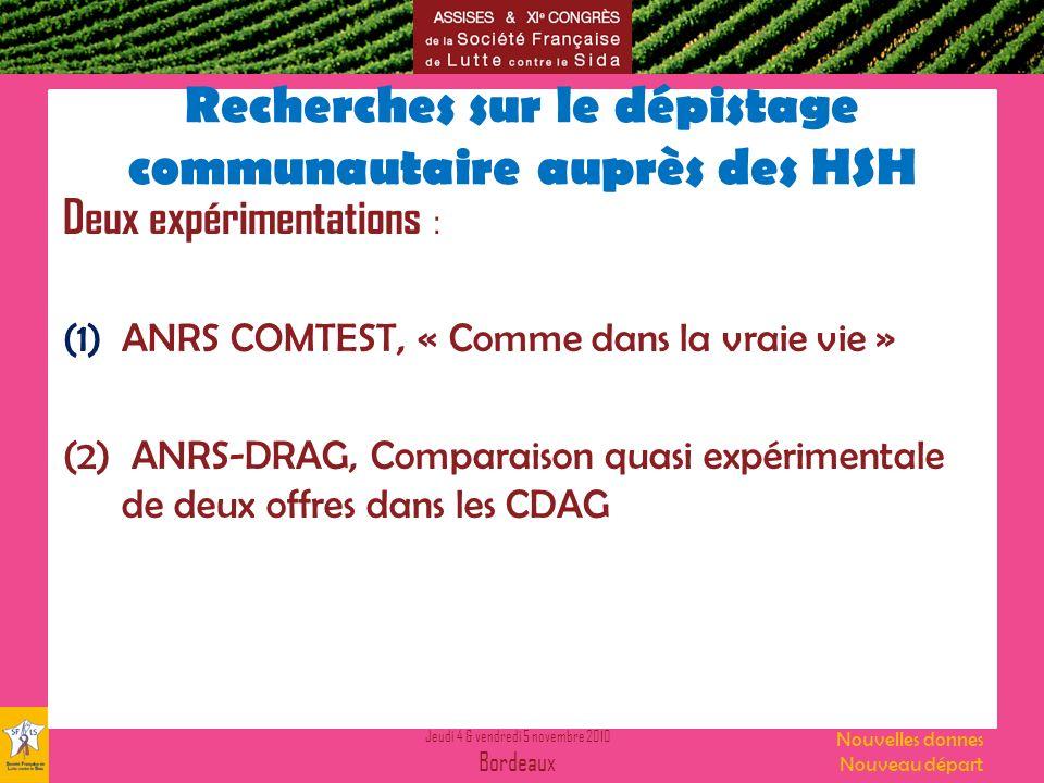 Jeudi 4 & vendredi 5 novembre 2010 Bordeaux Nouvelles donnes Nouveau départ Recherches sur le dépistage communautaire auprès des HSH Deux expérimentations : (1)ANRS COMTEST, « Comme dans la vraie vie » (2) ANRS-DRAG, Comparaison quasi expérimentale de deux offres dans les CDAG