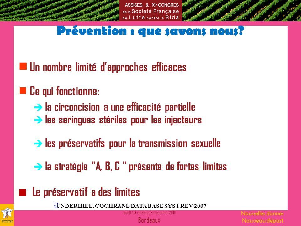 Jeudi 4 & vendredi 5 novembre 2010 Bordeaux Nouvelles donnes Nouveau départ Prévention : que savons nous.