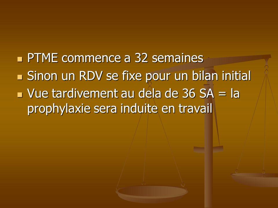 PTME commence a 32 semaines PTME commence a 32 semaines Sinon un RDV se fixe pour un bilan initial Sinon un RDV se fixe pour un bilan initial Vue tard