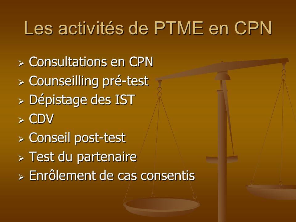 Les activités de PTME en CPN Consultations en CPN Consultations en CPN Counseilling pré-test Counseilling pré-test Dépistage des IST Dépistage des IST CDV CDV Conseil post-test Conseil post-test Test du partenaire Test du partenaire Enrôlement de cas consentis Enrôlement de cas consentis