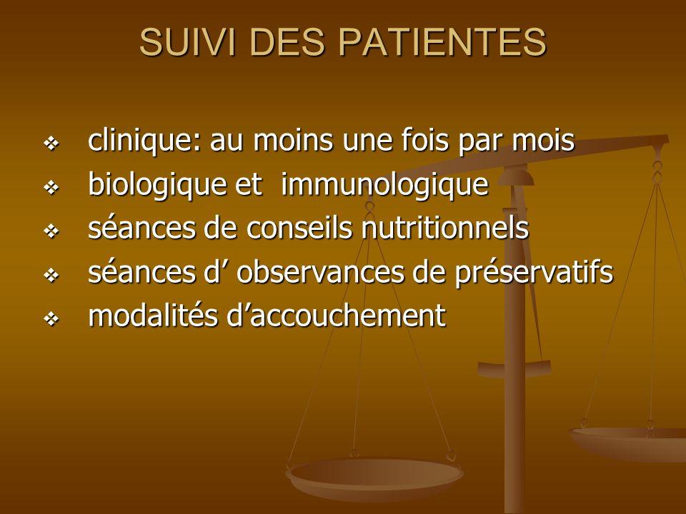 SUIVI DES PATIENTES clinique: au moins une fois par mois clinique: au moins une fois par mois biologique et immunologique biologique et immunologique