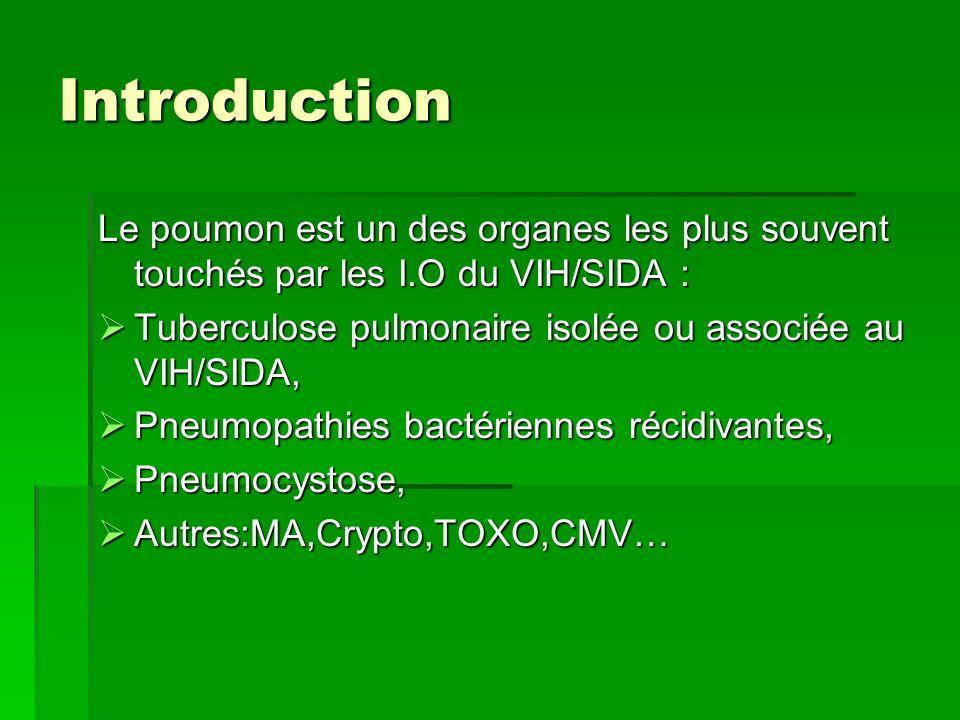 Introduction Le poumon est un des organes les plus souvent touchés par les I.O du VIH/SIDA : Tuberculose pulmonaire isolée ou associée au VIH/SIDA, Tu