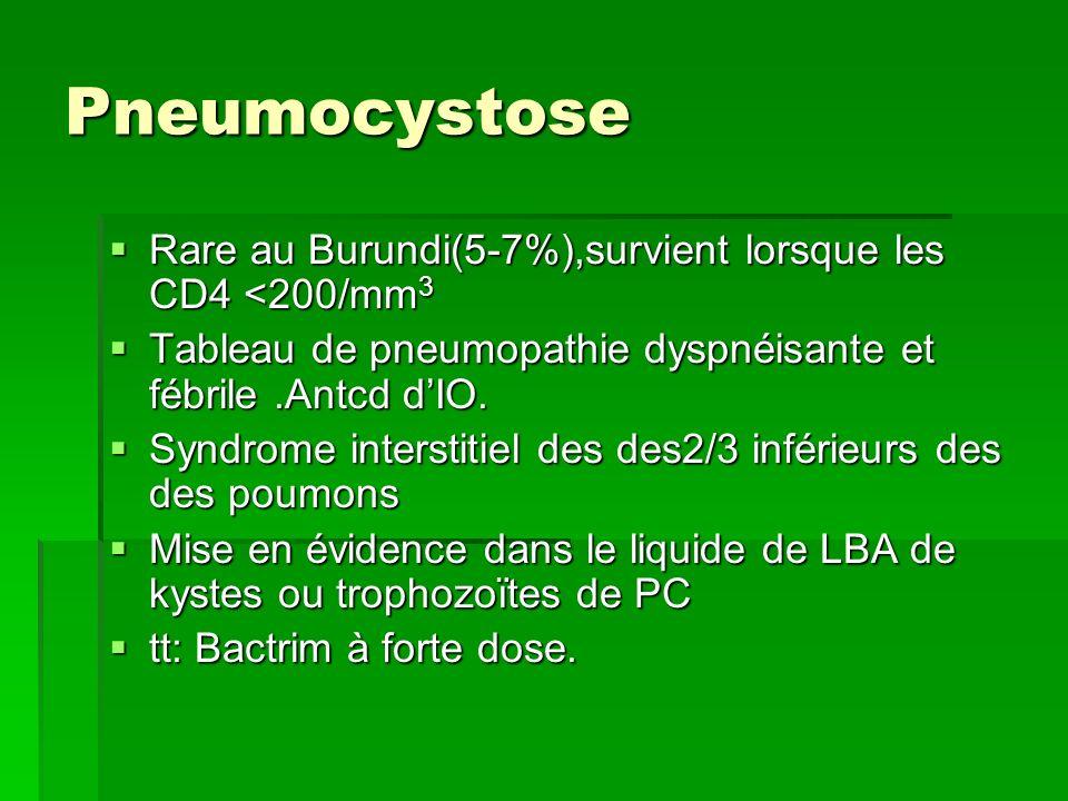 Pneumocystose Rare au Burundi(5-7%),survient lorsque les CD4 <200/mm 3 Rare au Burundi(5-7%),survient lorsque les CD4 <200/mm 3 Tableau de pneumopathi