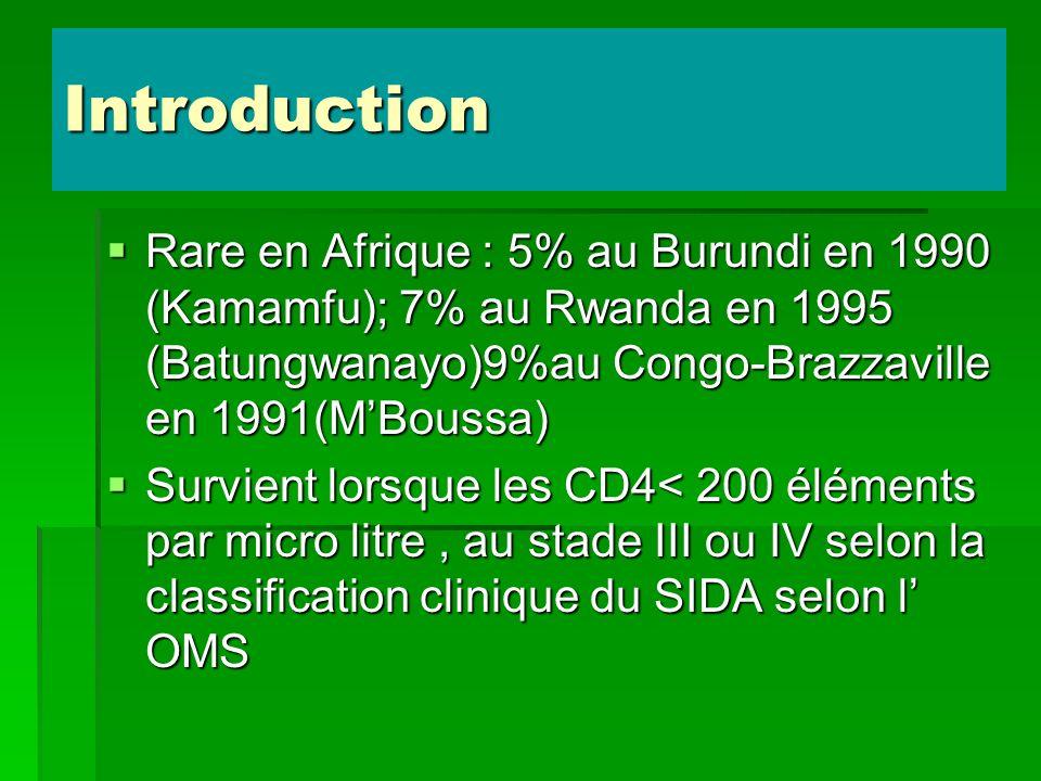Introduction Rare en Afrique : 5% au Burundi en 1990 (Kamamfu); 7% au Rwanda en 1995 (Batungwanayo)9%au Congo-Brazzaville en 1991(MBoussa) Rare en Afr