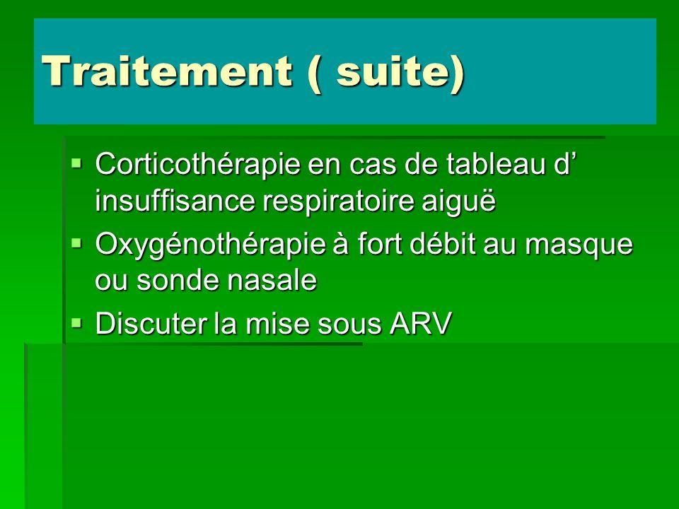 Traitement ( suite) Corticothérapie en cas de tableau d insuffisance respiratoire aiguë Corticothérapie en cas de tableau d insuffisance respiratoire