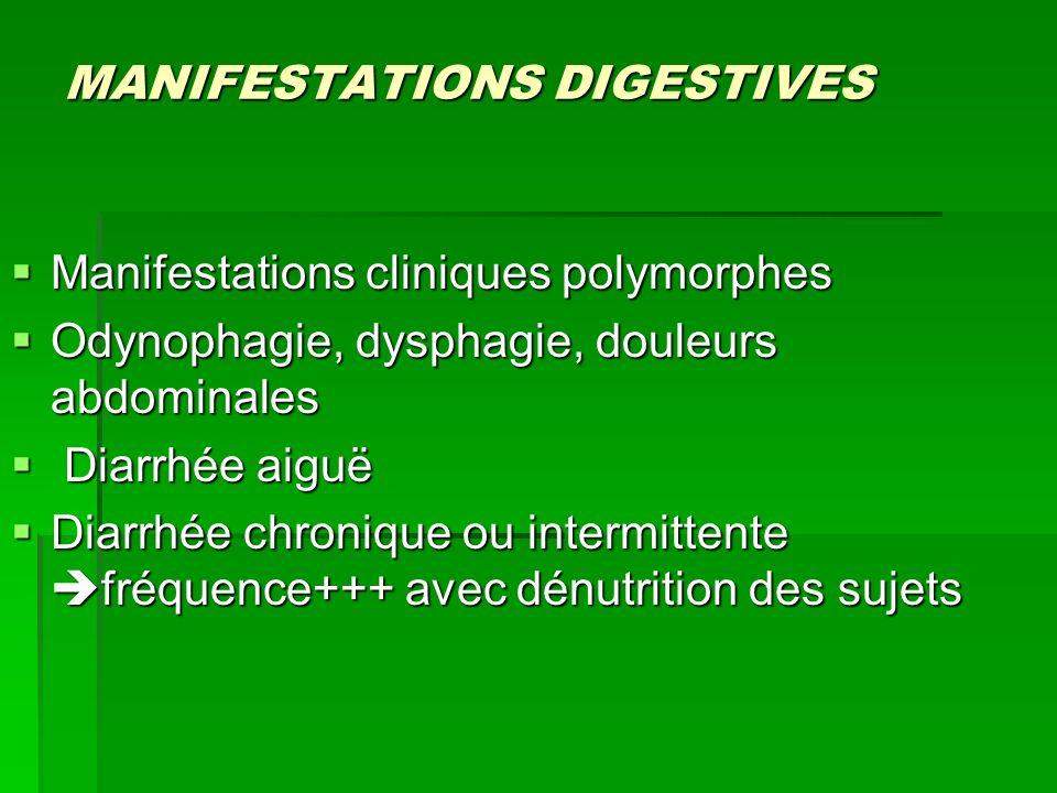 MANIFESTATIONS DIGESTIVES Manifestations cliniques polymorphes Manifestations cliniques polymorphes Odynophagie, dysphagie, douleurs abdominales Odyno