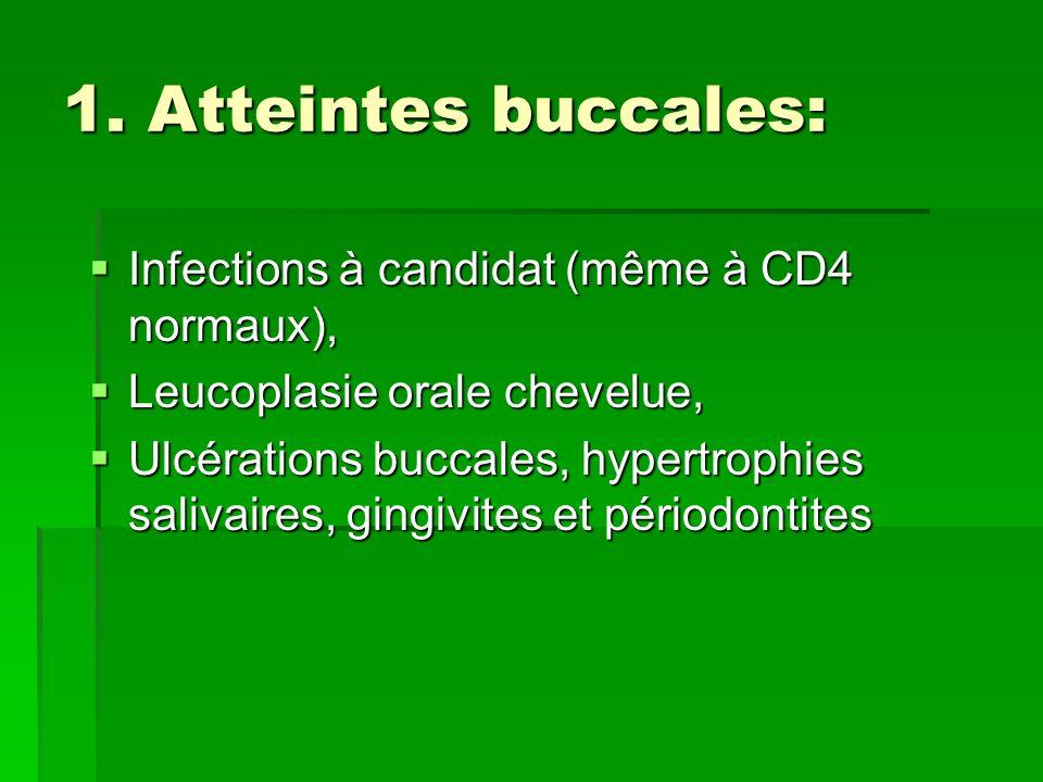 1. Atteintes buccales: Infections à candidat (même à CD4 normaux), Infections à candidat (même à CD4 normaux), Leucoplasie orale chevelue, Leucoplasie