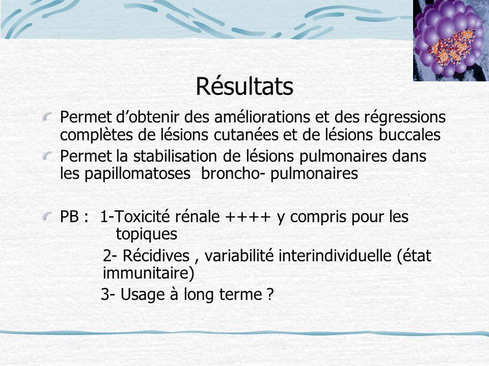 Résultats Permet dobtenir des améliorations et des régressions complètes de lésions cutanées et de lésions buccales Permet la stabilisation de lésions