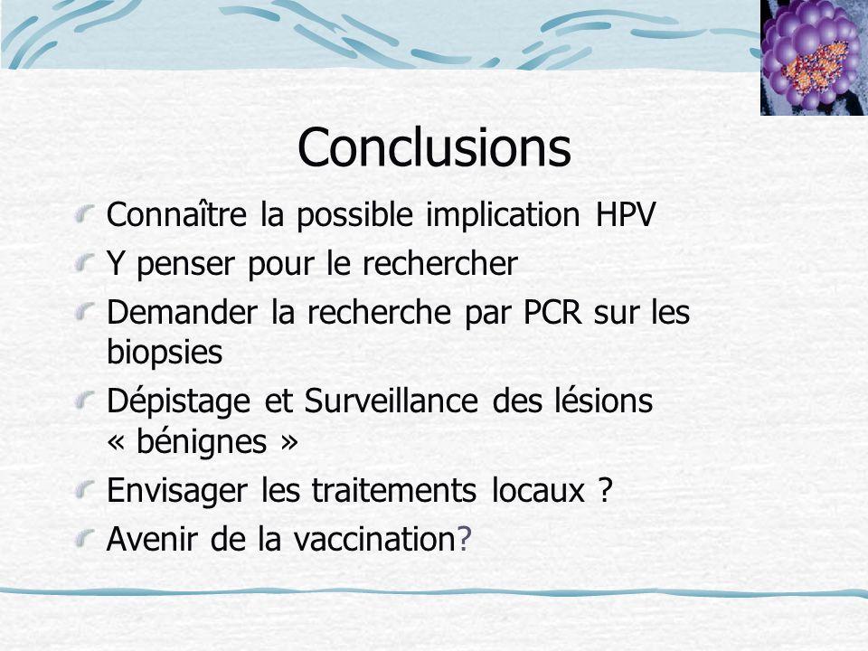 Conclusions Connaître la possible implication HPV Y penser pour le rechercher Demander la recherche par PCR sur les biopsies Dépistage et Surveillance