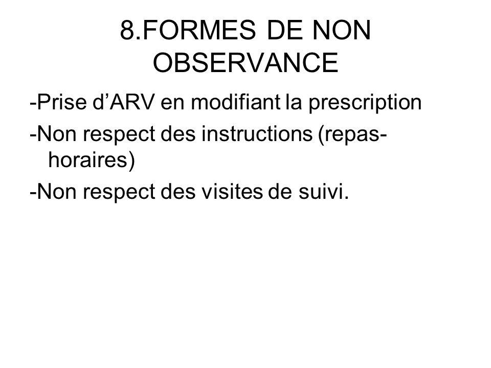 8.FORMES DE NON OBSERVANCE -Prise dARV en modifiant la prescription -Non respect des instructions (repas- horaires) -Non respect des visites de suivi.