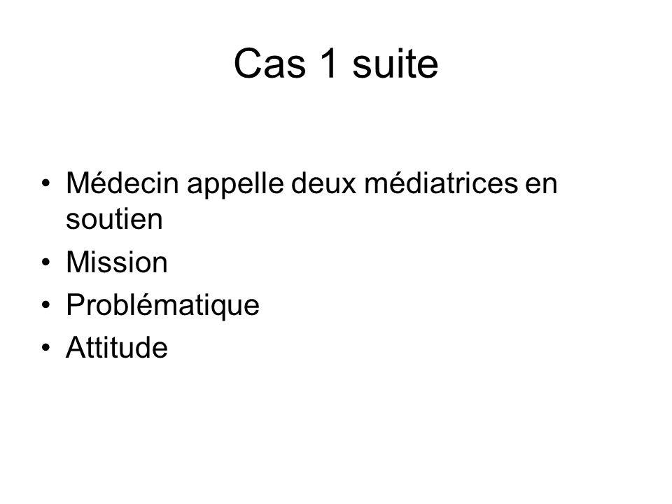 Cas 1 suite Médecin appelle deux médiatrices en soutien Mission Problématique Attitude