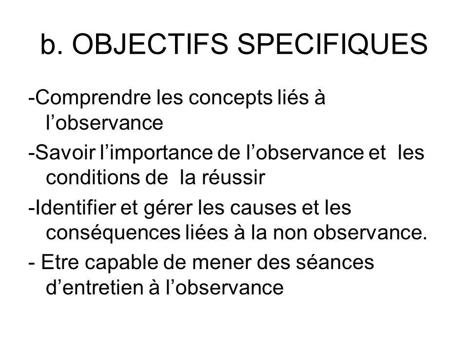 b. OBJECTIFS SPECIFIQUES -Comprendre les concepts liés à lobservance -Savoir limportance de lobservance et les conditions de la réussir -Identifier et