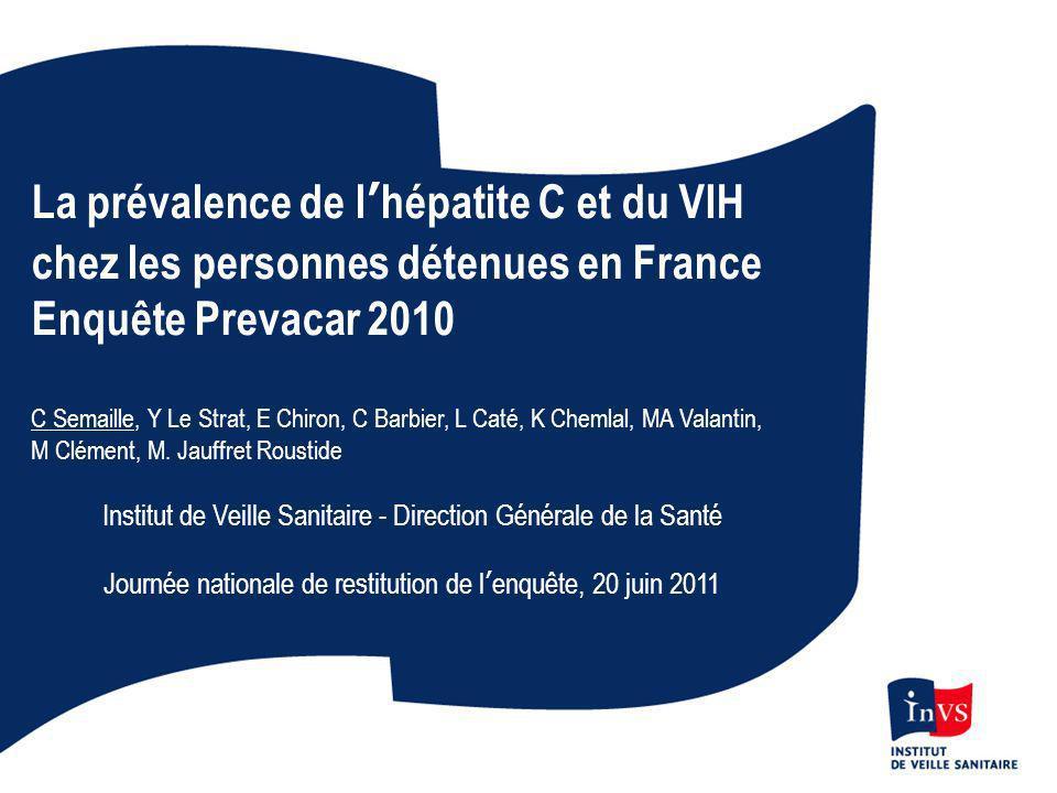 La prévalence de lhépatite C et du VIH chez les personnes détenues en France Enquête Prevacar 2010 C Semaille, Y Le Strat, E Chiron, C Barbier, L Caté