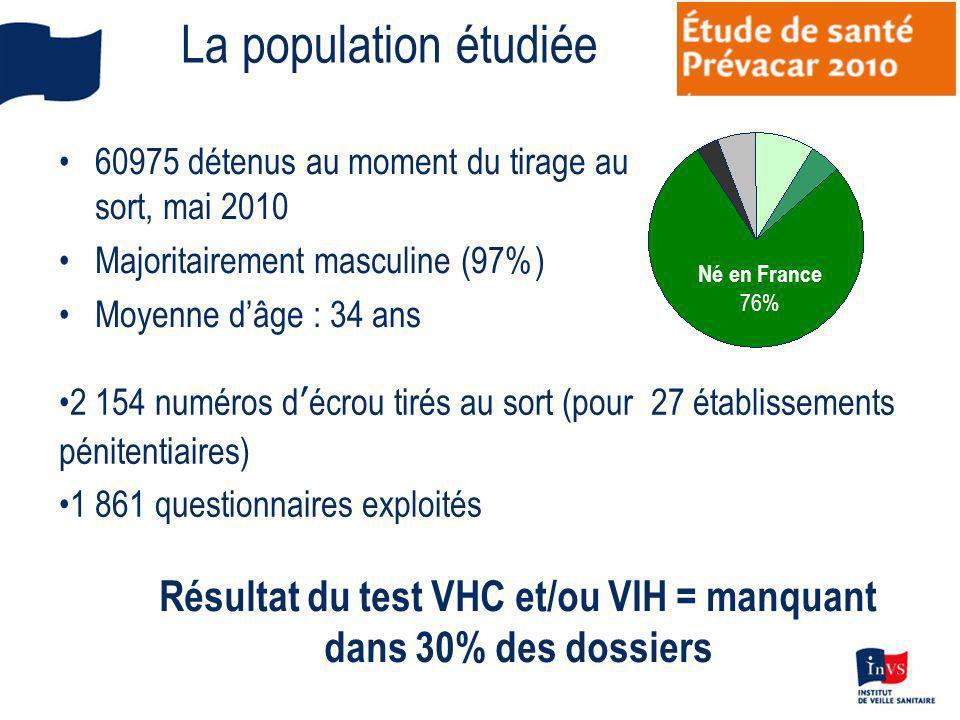 La population étudiée 60975 détenus au moment du tirage au sort, mai 2010 Majoritairement masculine (97%) Moyenne dâge : 34 ans Né en France 76% 2 154