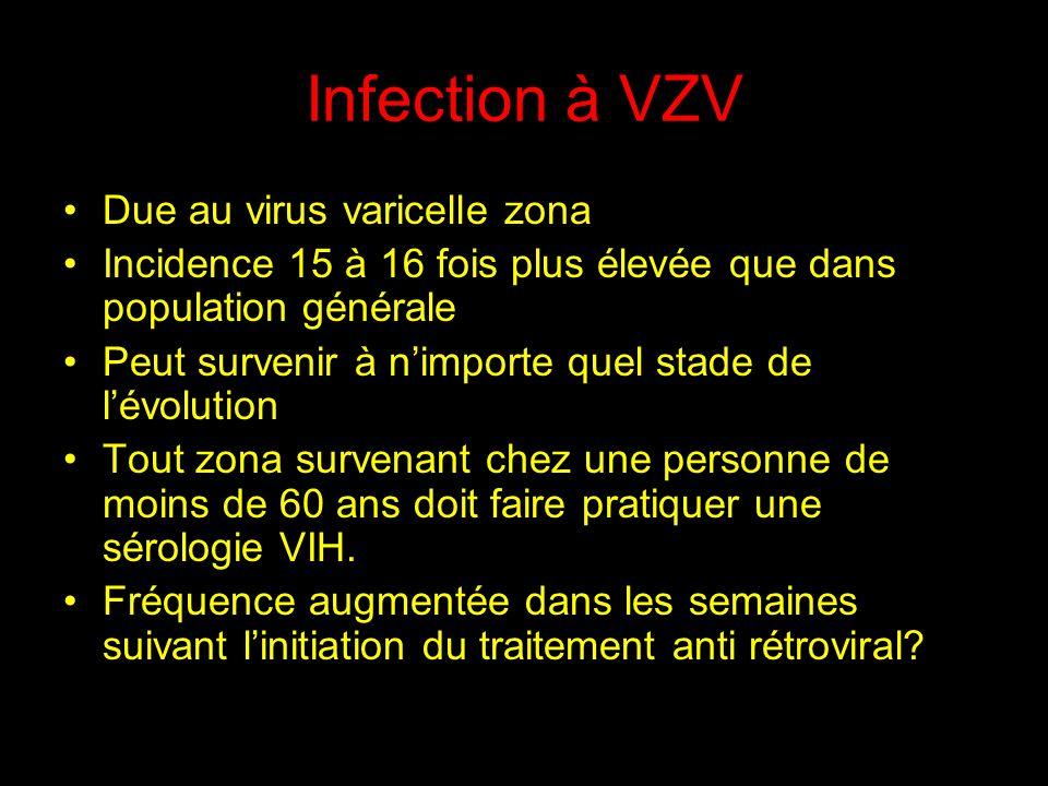Infection à VZV Due au virus varicelle zona Incidence 15 à 16 fois plus élevée que dans population générale Peut survenir à nimporte quel stade de lévolution Tout zona survenant chez une personne de moins de 60 ans doit faire pratiquer une sérologie VIH.