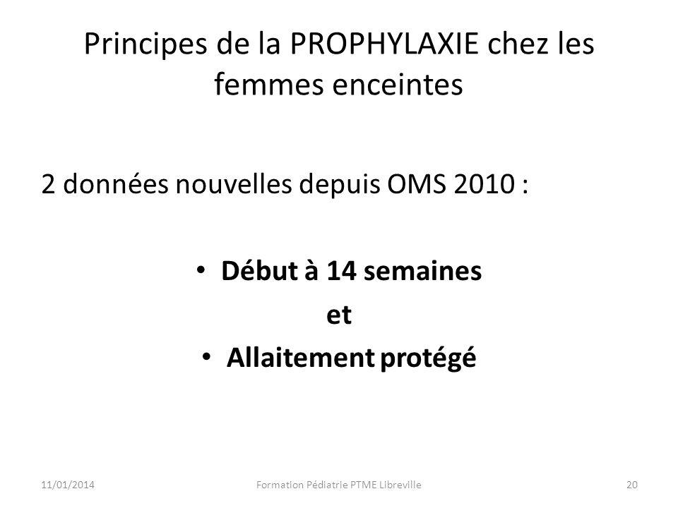 Principes de la PROPHYLAXIE chez les femmes enceintes 2 données nouvelles depuis OMS 2010 : Début à 14 semaines et Allaitement protégé Formation Pédiatrie PTME Libreville2011/01/2014