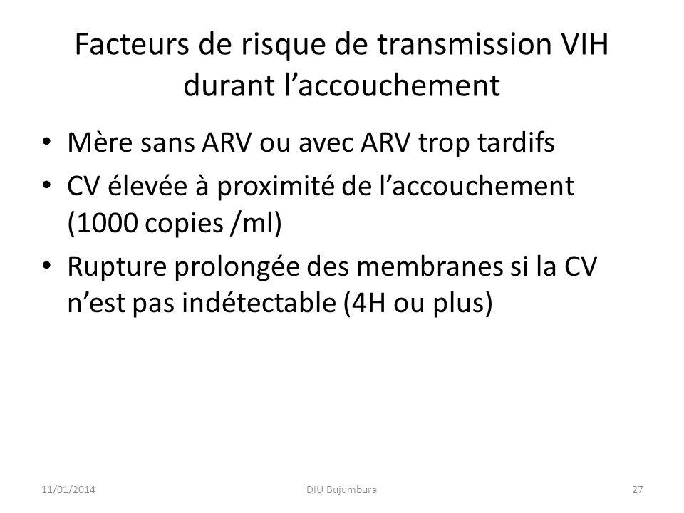 Facteurs de risque de transmission VIH durant laccouchement Mère sans ARV ou avec ARV trop tardifs CV élevée à proximité de laccouchement (1000 copies /ml) Rupture prolongée des membranes si la CV nest pas indétectable (4H ou plus) 11/01/2014DIU Bujumbura27