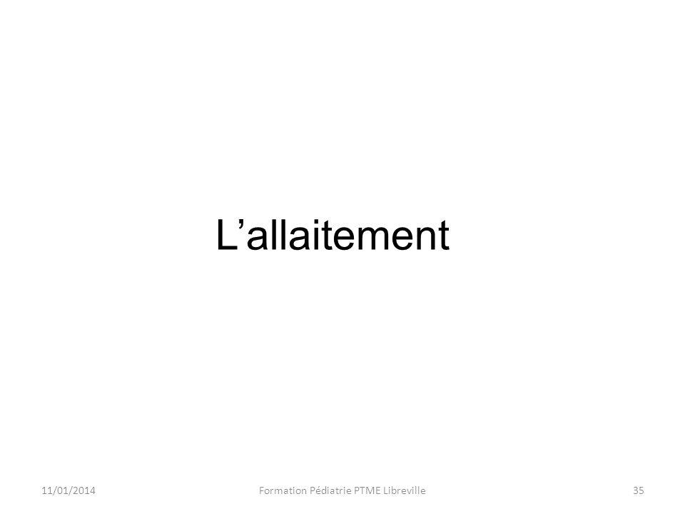 11/01/2014Formation Pédiatrie PTME Libreville35 Lallaitement