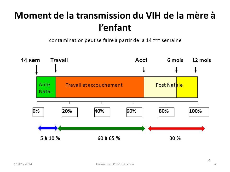 Formation PTME Gabon4 Moment de la transmission du VIH de la mère à lenfant 0%20%40%60%80%100% Travail et accouchement 6 mois12 mois Ante Nata.
