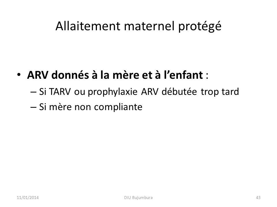Allaitement maternel protégé ARV donnés à la mère et à lenfant : – Si TARV ou prophylaxie ARV débutée trop tard – Si mère non compliante 11/01/2014DIU Bujumbura43