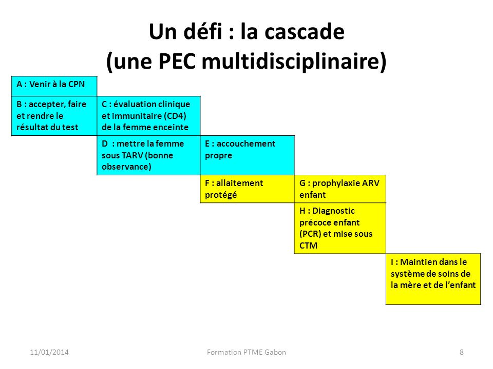 Un défi : la cascade (une PEC multidisciplinaire) A : Venir à la CPN B : accepter, faire et rendre le résultat du test C : évaluation clinique et immunitaire (CD4) de la femme enceinte D : mettre la femme sous TARV (bonne observance) E : accouchement propre F : allaitement protégé G : prophylaxie ARV enfant H : Diagnostic précoce enfant (PCR) et mise sous CTM I : Maintien dans le système de soins de la mère et de lenfant 11/01/2014Formation PTME Gabon8