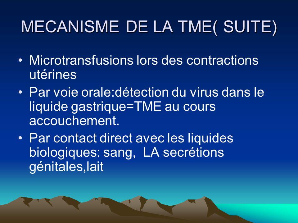 MECANISME DE LA TME( SUITE) Microtransfusions lors des contractions utérines Par voie orale:détection du virus dans le liquide gastrique=TME au cours