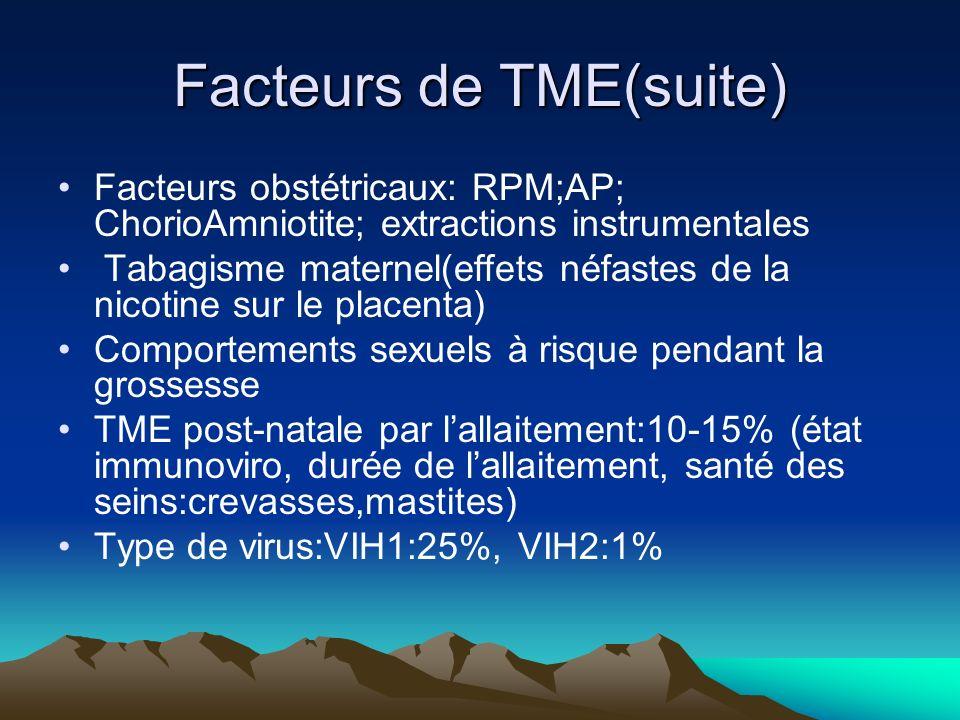 Facteurs de TME(suite) Facteurs obstétricaux: RPM;AP; ChorioAmniotite; extractions instrumentales Tabagisme maternel(effets néfastes de la nicotine su