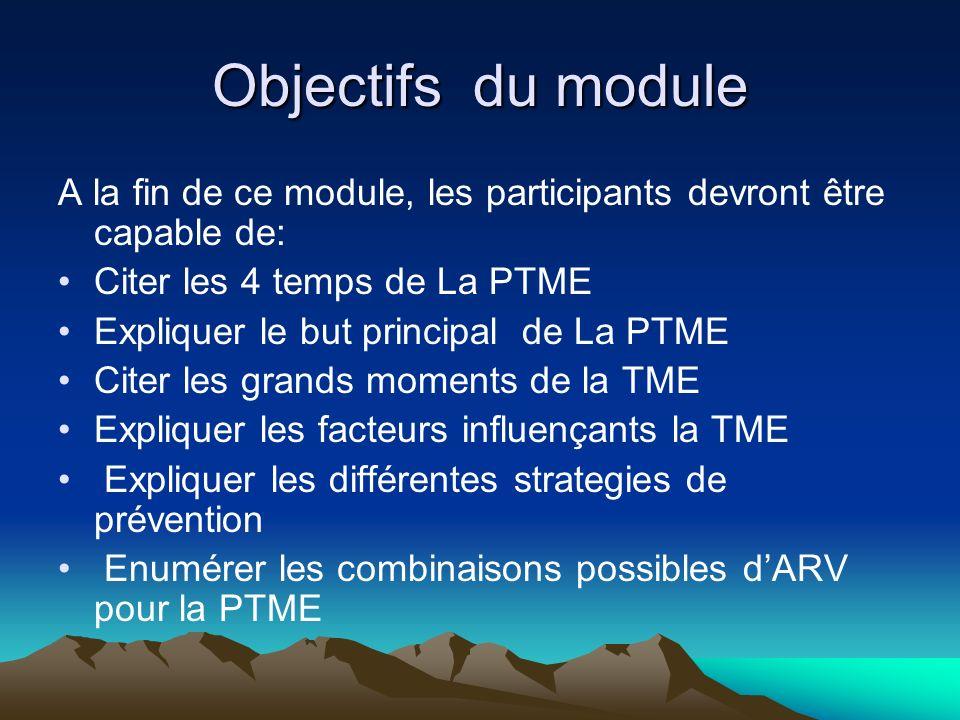 Objectifs du module A la fin de ce module, les participants devront être capable de: Citer les 4 temps de La PTME Expliquer le but principal de La PTM