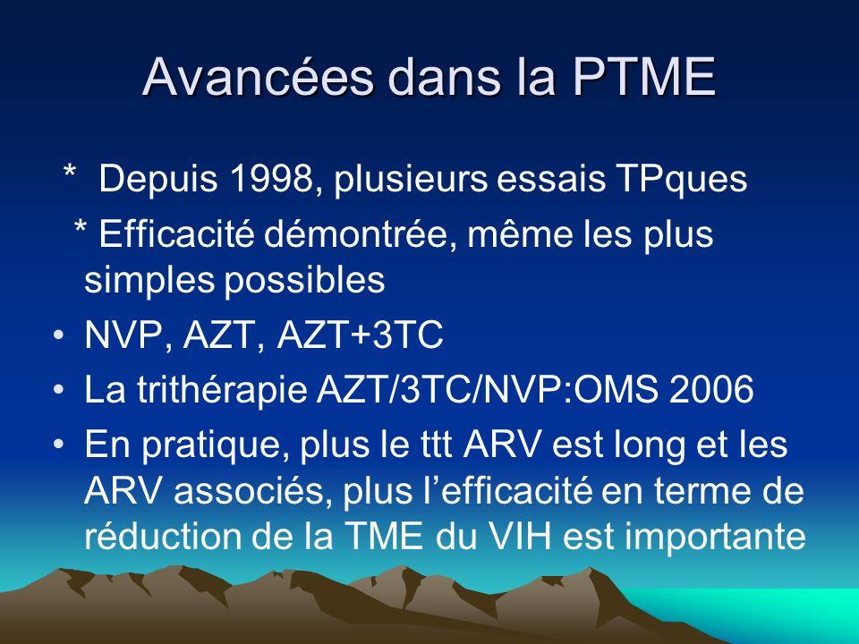 Avancées dans la PTME * Depuis 1998, plusieurs essais TPques * Efficacité démontrée, même les plus simples possibles NVP, AZT, AZT+3TC La trithérapie