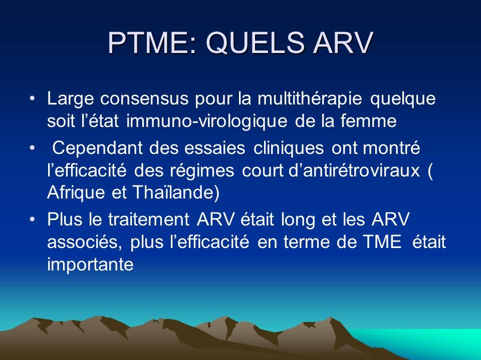 PTME: QUELS ARV Large consensus pour la multithérapie quelque soit létat immuno-virologique de la femme Cependant des essaies cliniques ont montré lef