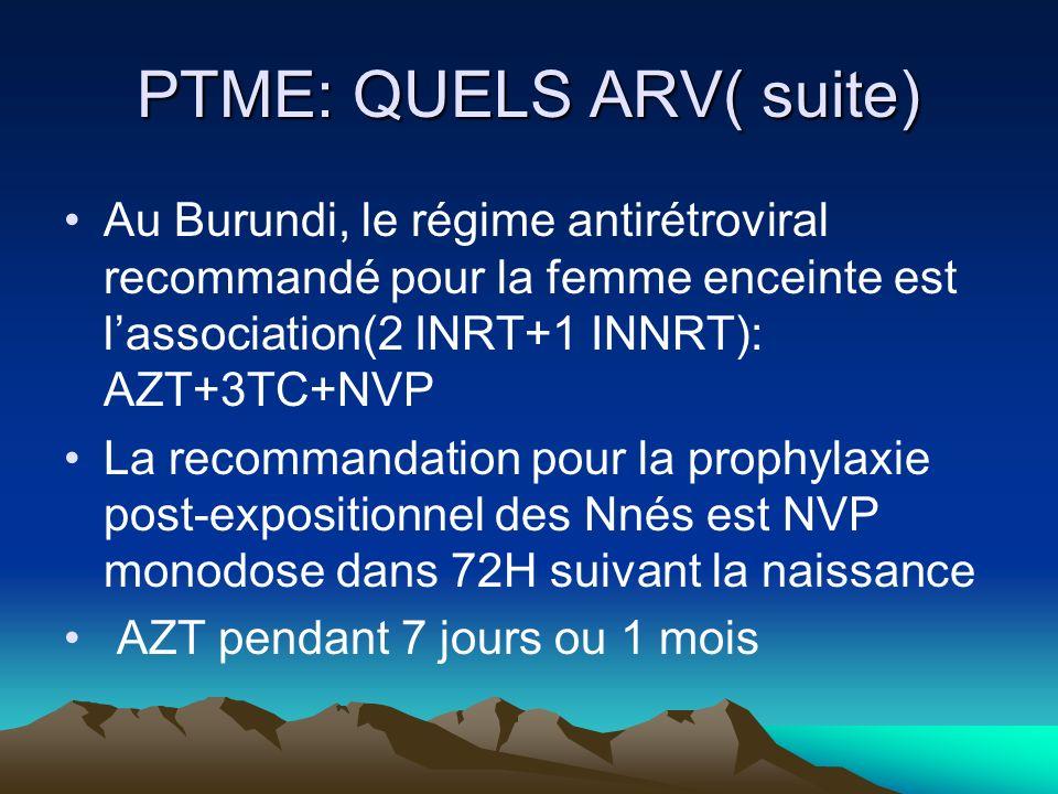 PTME: QUELS ARV( suite) Au Burundi, le régime antirétroviral recommandé pour la femme enceinte est lassociation(2 INRT+1 INNRT): AZT+3TC+NVP La recomm