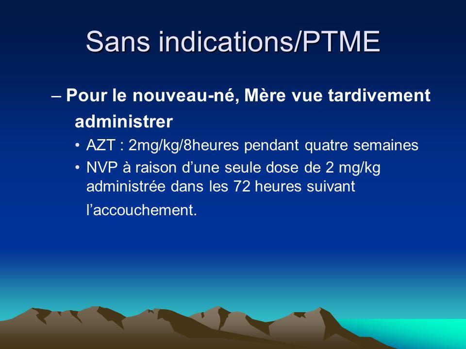 Sans indications/PTME –Pour le nouveau-né, Mère vue tardivement administrer AZT : 2mg/kg/8heures pendant quatre semaines NVP à raison dune seule dose