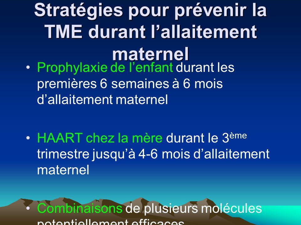 Stratégies pour prévenir la TME durant lallaitement maternel Prophylaxie de lenfant durant les premières 6 semaines à 6 mois dallaitement maternel HAA