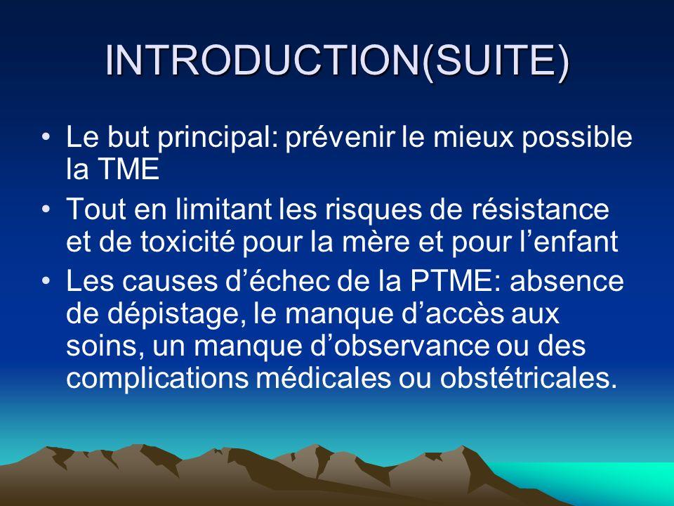 INTRODUCTION(SUITE) Le but principal: prévenir le mieux possible la TME Tout en limitant les risques de résistance et de toxicité pour la mère et pour