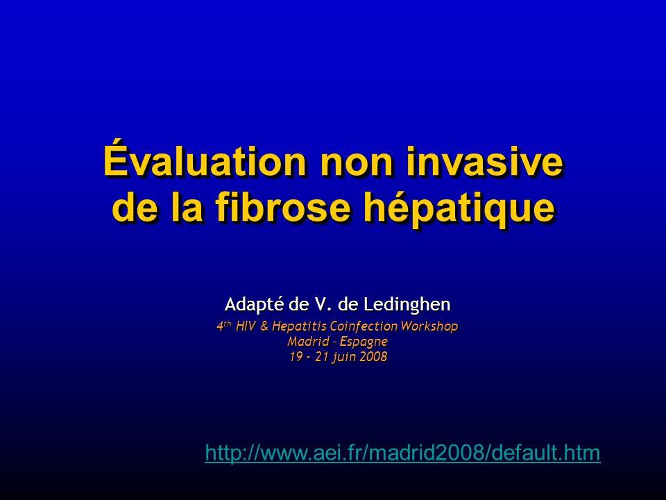 Évaluation non invasive de la fibrose hépatique Adapté de V. de Ledinghen 4 th HIV & Hepatitis Coinfection Workshop Madrid – Espagne 19 - 21 juin 2008