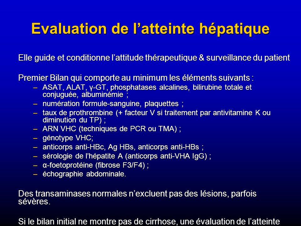 Evaluation de latteinte hépatique Elle guide et conditionne lattitude thérapeutique & surveillance du patient Premier Bilan qui comporte au minimum le