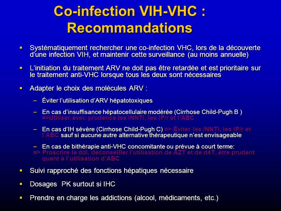Systématiquement rechercher une co-infection VHC, lors de la découverte dune infection VIH, et maintenir cette surveillance (au moins annuelle) Systém