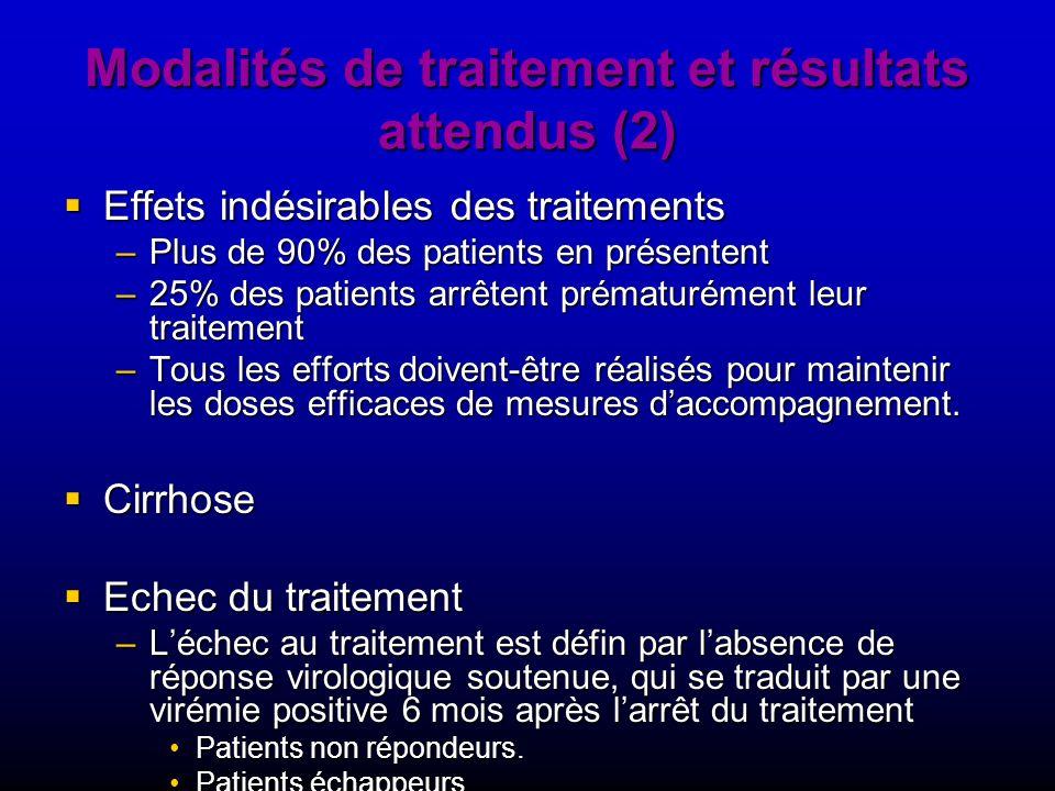 Modalités de traitement et résultats attendus (2) Effets indésirables des traitements Effets indésirables des traitements –Plus de 90% des patients en
