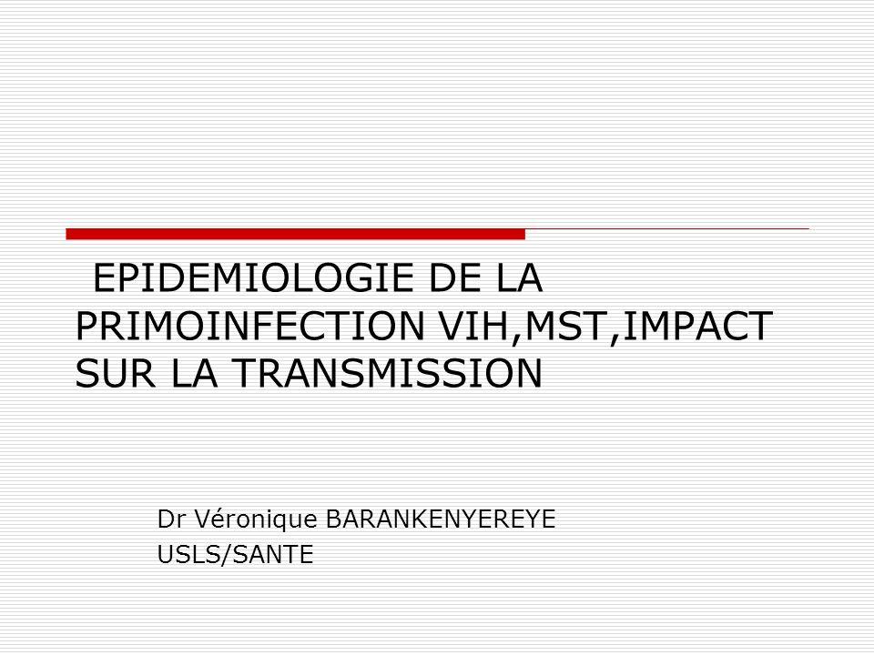 EPIDEMIOLOGIE DE LA PRIMOINFECTION VIH,MST,IMPACT SUR LA TRANSMISSION Dr Véronique BARANKENYEREYE USLS/SANTE