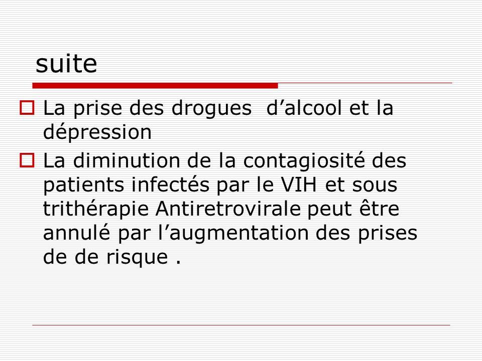 suite La prise des drogues dalcool et la dépression La diminution de la contagiosité des patients infectés par le VIH et sous trithérapie Antiretrovir