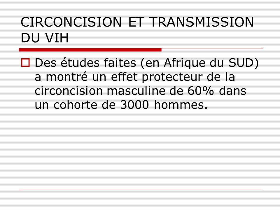 CIRCONCISION ET TRANSMISSION DU VIH Des études faites (en Afrique du SUD) a montré un effet protecteur de la circoncision masculine de 60% dans un coh