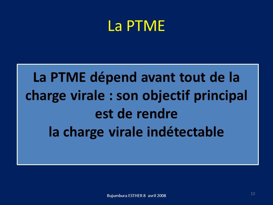 La PTME Bujumbura ESTHER 8 avril 2008 10 La PTME dépend avant tout de la charge virale : son objectif principal est de rendre la charge virale indétec