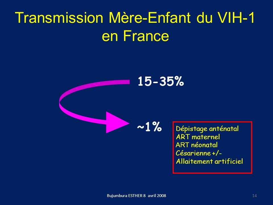 Transmission Mère-Enfant du VIH-1 en France 15-35% ~1% Dépistage anténatal ART maternel ART néonatal Césarienne +/- Allaitement artificiel Bujumbura E