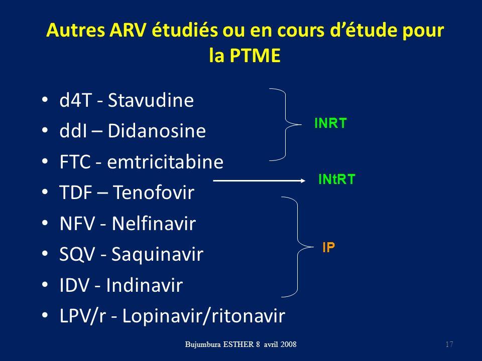 Autres ARV étudiés ou en cours détude pour la PTME d4T - Stavudine ddI – Didanosine FTC - emtricitabine TDF – Tenofovir NFV - Nelfinavir SQV - Saquina