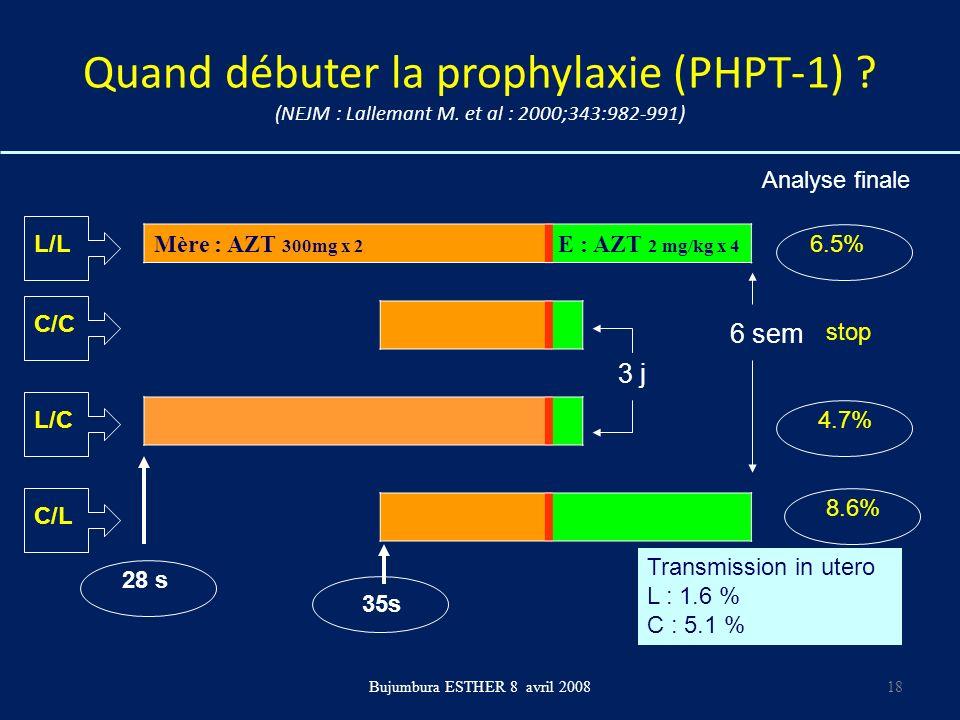 Quand débuter la prophylaxie (PHPT-1) ? (NEJM : Lallemant M. et al : 2000;343:982-991) Mère : AZT 300mg x 2 E : AZT 2 mg/kg x 4 Bujumbura ESTHER 8 avr