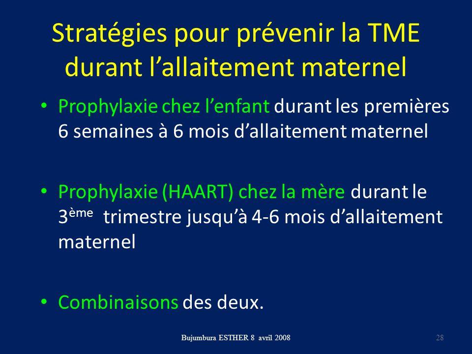 Stratégies pour prévenir la TME durant lallaitement maternel Prophylaxie chez lenfant durant les premières 6 semaines à 6 mois dallaitement maternel P