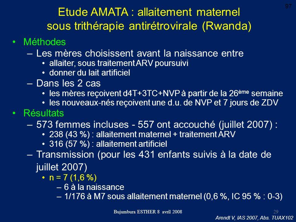 Bujumbura ESTHER 8 avril 2008 Etude AMATA : allaitement maternel sous trithérapie antirétrovirale (Rwanda) Méthodes –Les mères choisissent avant la na