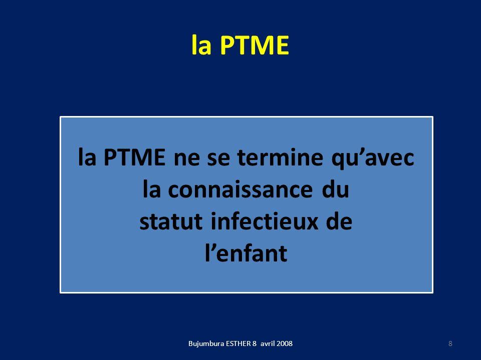 La PTME Aussi longtemps que le placenta et les membranes sont intactes le VIH ne passe pas de la mère à lenfant Bujumbura ESTHER 8 avril 20089